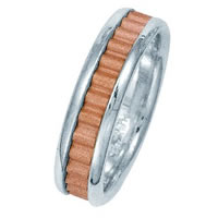 Item # 211031PE - Platinum-18K Rose Gold Classic Wedding Band