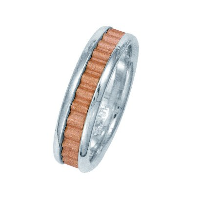 Item # 211031RE - 18Kt Rose gold and white gold classic wedding band. The ring is about 6.0 mm wide and comfort fit. The center of the ring has a unique handcrafted design with a sandblast satin finish. The outer edges are polished. Different finishes may be selected or specified.