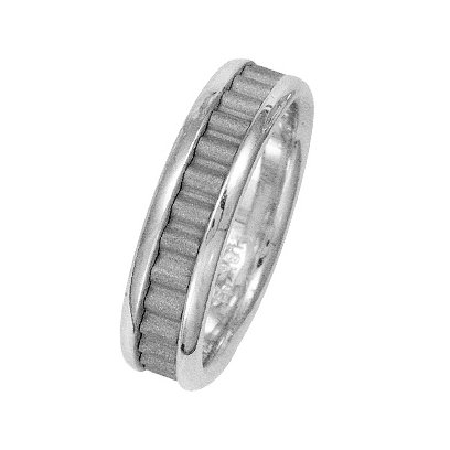 Item # 211031W - 14Kt White gold classic wedding band. The ring is about 6.0 mm wide and comfort fit. The center of the ring has a unique handcrafted design with a sandblast satin finish. The outer edges are polished. Different finishes may be selected or specified.