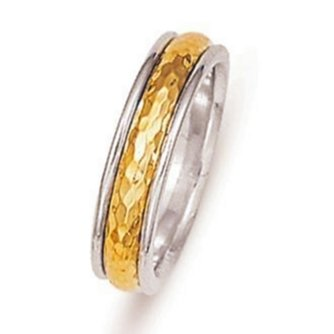 Platinum-Yellow Gold Hammered Wedding Band
