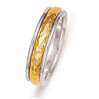Item # 211051PE - Platinum-Yellow Gold Hammered Wedding Band