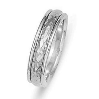 Item # 211051W - 14Kt White gold hammered wedding band. The ring is 6.0 mm wide and comfort fit. The center is a matte hammered finish and the outer edges are polished. Different finishes may be selected or specified.