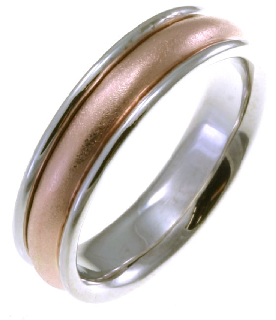 211071PE Platinum And 18 Kt Rose Gold Classic Wedding Band