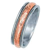 Item # 211091PE - Platinum and 18 Kt Rose Gold Classic Wedding Band