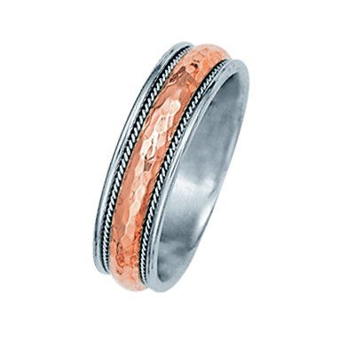 Item # 211091RE - 18Kt Rose gold and white gold classic wedding band. The ring is about 6.0 mm wide and is comfort fit. The center is a matte hammered finish with one hand crafted rope on each side. The outer edges are polished. Different finishes may be selected or specified.