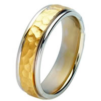 Item # 211121E - 18 Kt Two-Tone Gold Hammered Wedding Band