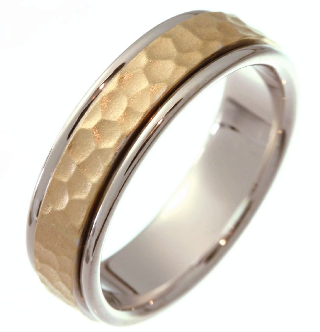 Item # 211121E - 14Kt Two-tone gold hammered wedding band. The ring is about 6.5 mm wide and comfort fit. The hammered portion of the ring is a matte finish and the outer edges are polished. Different finishes may be selected or specified.
