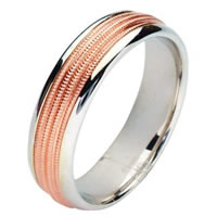 Item # 211141PE - Platinum and 18 Kt Rose Gold Wedding Band