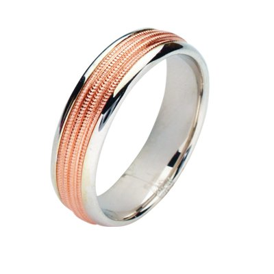 Item # 211141RE - 18Kt Rose gold and white gold wedding band. The ring is about 6.0 mm wide and comfort fit. The center has four milgrains with a matte finish. The outer edges are polished. Different finishes may be selected or specified.