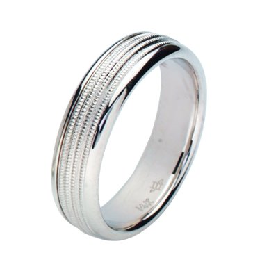 Item # 211141W - 14Kt White gold wedding band. The ring is about 6.0 mm wide and comfort fit. The center has four milgrains with a matte finish. The outer edges are polished. Different finishes may be selected or specified.