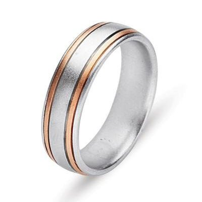 Item # 211161R - 14Kt Rose gold and white gold wedding band. The ring is about 6.0 mm wide and comfort fit. The ring has a satin matte finish. Different finishes may be selected a or specified.