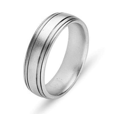 Item # 211161W - 14Kt White gold wedding band. The ring is about 6.0 mm wide and comfort fit. The ring has a satin matte finish. Different finishes may be selected a or specified.