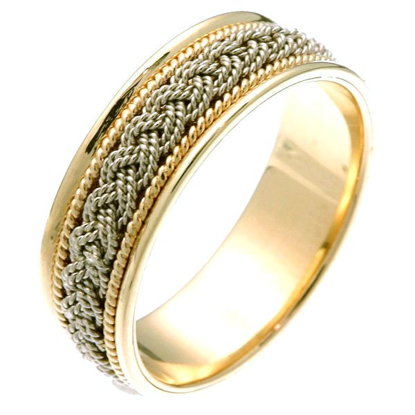 Platinum & 18 Kt Gold Braided Ring