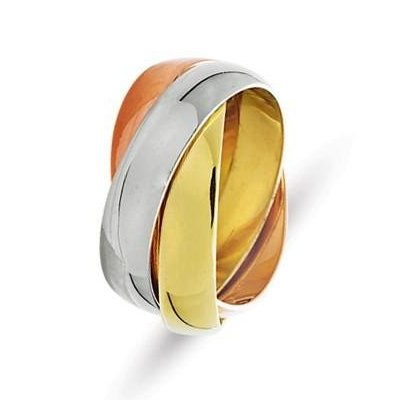 Item # 211171E - 18Kt Tri-color gold Russian wedding band. The ring is about 5.0 mm wide and comfort fit. There are three interlocking bands. It is a polished finish. Different finishes may be selected or specified.