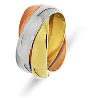 Item # 211171E - 18 Kt Tri-Color Gold Russian Wedding Band