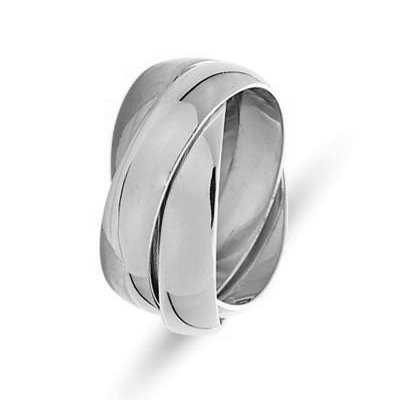Item # 211171W - 14Kt White gold Russian wedding band. The ring is about 5.0 mm wide and comfort fit. There are three interlocking bands. It is a polished finish. Different finishes may be selected or specified.