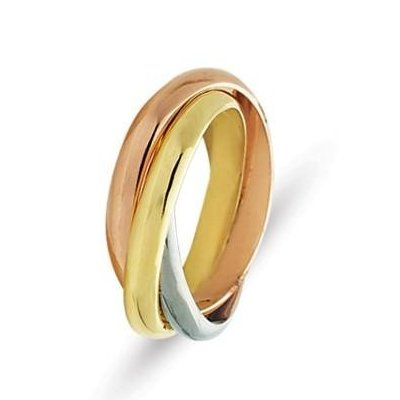 Item # 211181E - 18Kt Tri-Color gold Russian wedding band. There are 3 interlocking bands. Each ring is about 3.0mm wide. The ring is polished. Different finishes may be selected or specified.