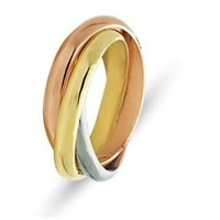 Item # 211181E - 18 Kt Tri-Color Gold Russian Ring Wedding Band