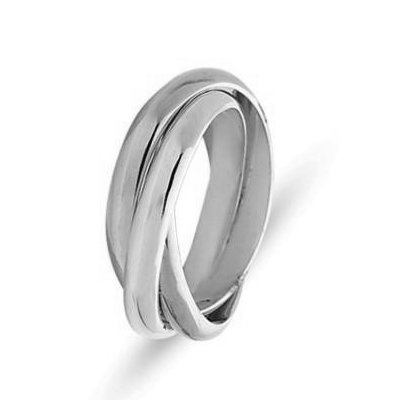 Item # 211181W - 14Kt White gold Russianwedding band. There are 3 interlocking bands. Each ring is about 3.0mm wide. The ring is polished. Different finishes may be selected or specified.