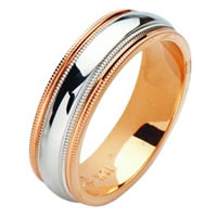 Item # 211191PE - Platinum- Rose Gold Comfort Fit Wedding Band