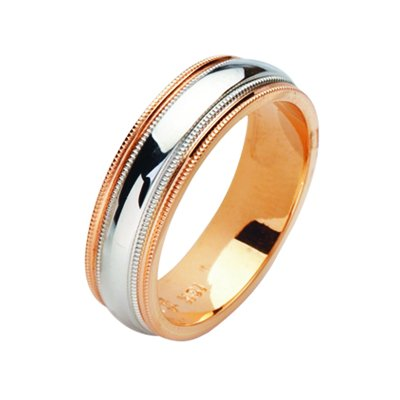 Item # 211191RE - 18Kt Rose gold and white gold wedding band. The ring is about 6.5 mm wide and comfort fit with milgrain. Each side of the band has two milgrains. The ring is polished. Different finishes may be selected or specified.