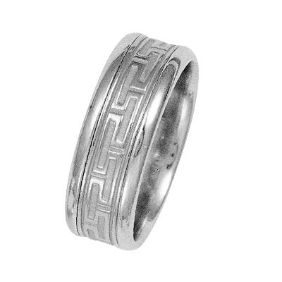Item # 211221WE - 18 Kt White Gold Greek Key Wedding Band View-1