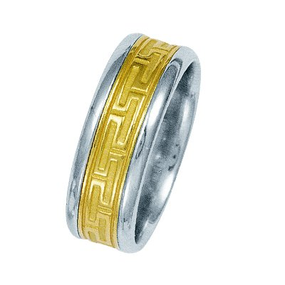 Item # 211221PE - Platinum and 18 kt yellow gold greek key wedding band. The ring is about 8.5 mm wide and comfort fit. The greek key pattern is a matte finish and the outer edges are polished. Different finishes may be selected or specified.