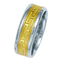 14 Kt Two-Tone Greek Key Wedding Band