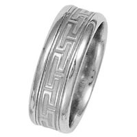 Item # 211221WE - 18 Kt White Gold Greek Key Wedding Band