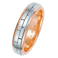 Item # 211231PE - Platinum and 18 Kt Hand Made Brick Wedding Band