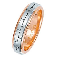 Item # 211231RE -  Rose and White Gold Hand Made Brick Wedding Band