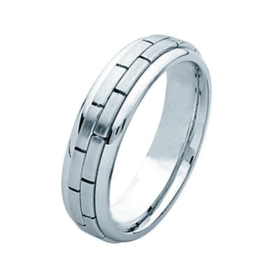 Item # 211231PP - Platinum hand made brick wedding band. The ring is about 6.0 mm wide and comfort fit. The brick pattern is matte and the outer edges are polished. Different finishes may be selected or specified.