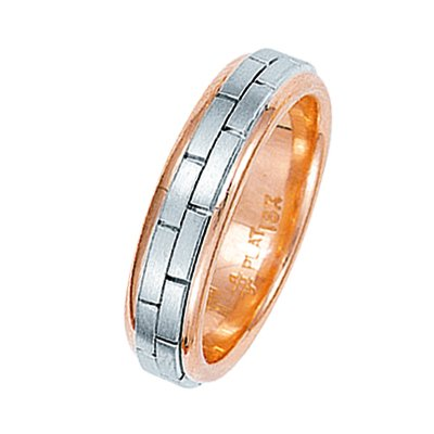 Item # 211231RE - 18Kt rose and white gold hand made brick wedding band. The ring is about 6.0 mm wide and comfort fit. The brick pattern is matte and the outer edges are polished. Different finishes may be selected or specified.