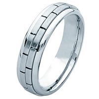 Item # 211231WE - 18 Kt White Gold Hand Made Brick Wedding Band