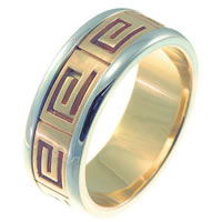 Item # 211241E - 18 Kt Two-Tone Greek Spartan Key Wedding Band