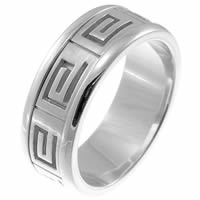 14Kt White Greek Spartan Key Wedding Band