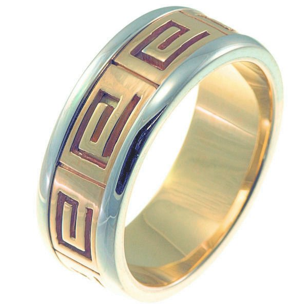 Item # 211241PE - Platinum and 18 kt gold greek spartan key wedding band. A hand crafted ring made with Greek motifs. The ring is about 8.0 mm wide and comfort fit. The whole ring is polished. Different finishes may be selected or specified.