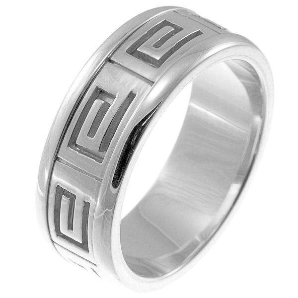 Item # 211241WE -  18 kt white gold greek spartan key wedding band.  A hand crafted ring made with Greek motifs. The ring is about 8.0 mm wide and comfort fit. The whole ring is polished. Different finishes may be selected or specified.