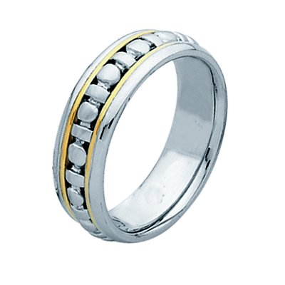 Item # 211281PE - Platinum and 18 kt wedding band. The ring is about 7.0 mm wide and comfort fit. The whole ring is polished. Different finishes may be selected or specified.