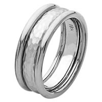 Item # 211291PP - Platinum Hammered Wedding Band