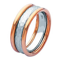 Item # 211291PE - Platinum and 18Kt Gold Hammered Wedding Band
