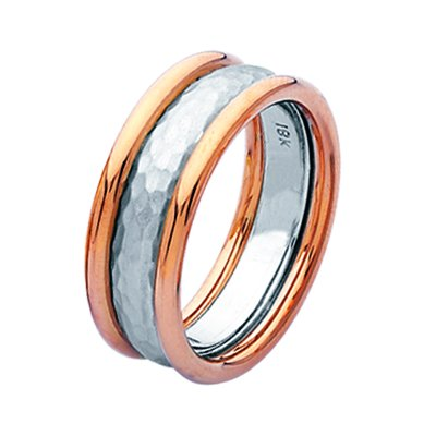 Item # 211291RE - 18Kt Rose and white gold hammered wedding band. The ring is about 9.0 mm wide and comfort fit. The hammered portion of the band is matte and the outer edges are polished. Different finishes may be selected or specified.