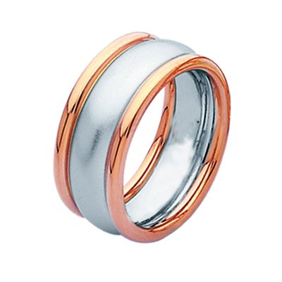 Item # 211301PE - Platinum and 18 kt rose gold wedding band. The ring is about 9.0 mm wide and comfort fit. The center is a matte finish and the outer edges are polished. Different finishes may be selected or specified.