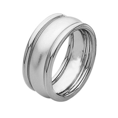 Item # 211301PP - Platinum wedding band. The ring is about 9.0 mm wide and comfort fit. The center is a matte finish and the outer edges are polished. Different finishes may be selected or specified.