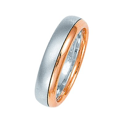 Item # 211311RE - 18Kt Rose and white gold wedding band. The ring is about 5.5 mm wide and comfort fit. One portion of the ring is matte and the other is polished. Different finishes may be selected or specified.