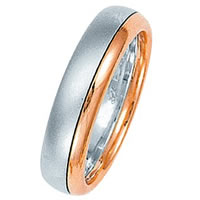 Item # 211311RE - 18 Kt Rose and White Gold Wedding Band