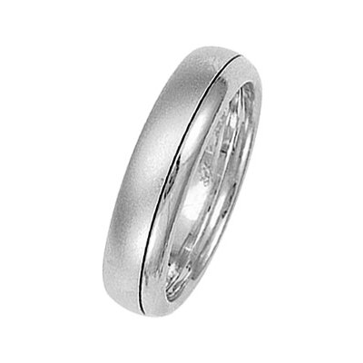 Item # 211311W - 14Kt White gold wedding band. The ring is about 5.5 mm wide and comfort fit. One portion of the ring is matte and the other is polished. Different finishes may be selected or specified.
