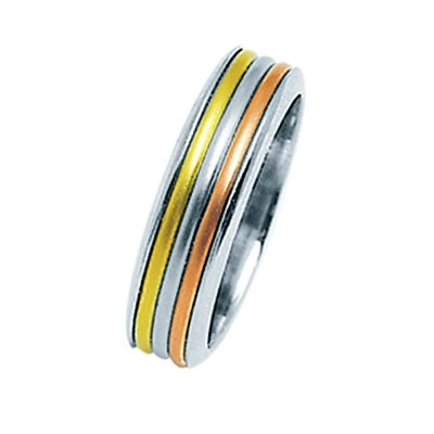 Item # 211321 - 14Kt Two-tone wedding band. The ring is about 6.5 mm wide and comfort fit. The center is matte and the outer edges are polished. Different finishes may be selected or specified.