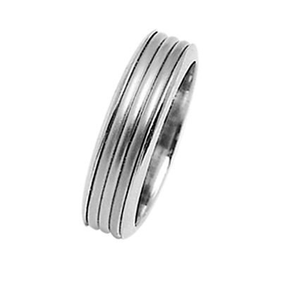 Item # 211321W - 14Kt White gold wedding band. The ring is about 6.5 mm wide and comfort fit. The center is matte and the outer edges are polished. Different finishes may be selected or specified.