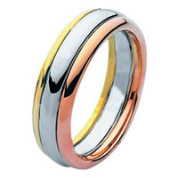 Item # 211331E - 18 Kt Tri-Color Wedding Band